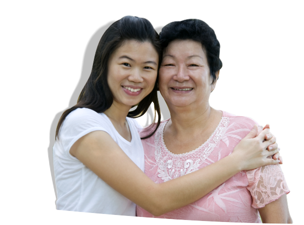 senior woman and her daughter smiling